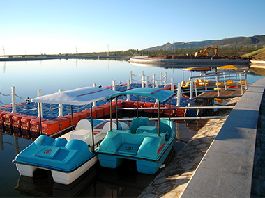 Boats docked at the dock