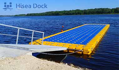 A blue and yellow plastic floating platform