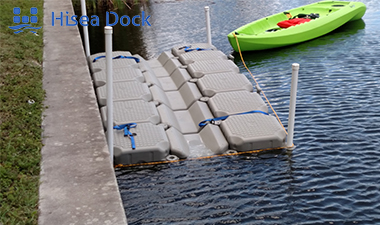 A picture of a floating dock and an inflatable boat