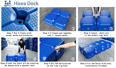 Procedure of assembling floating cube docks