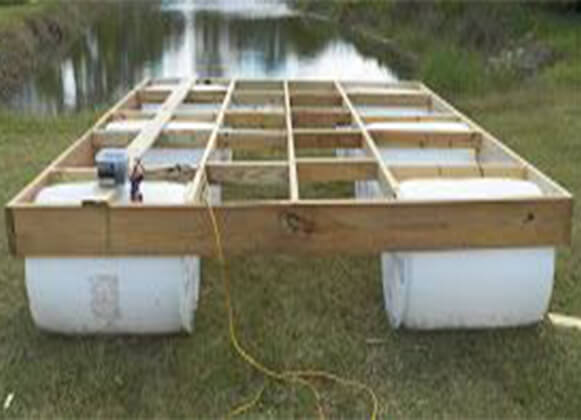 An image of a floating dock in progress