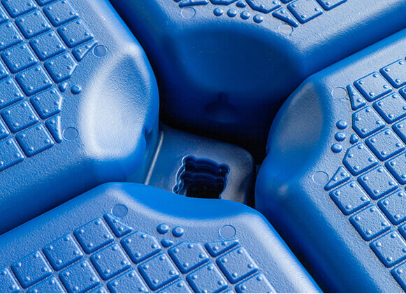 A close up image of a plastic floating dock