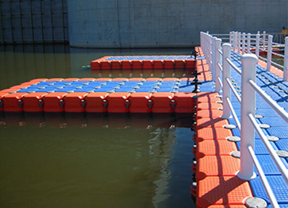 A side view of a plastic floating bridge