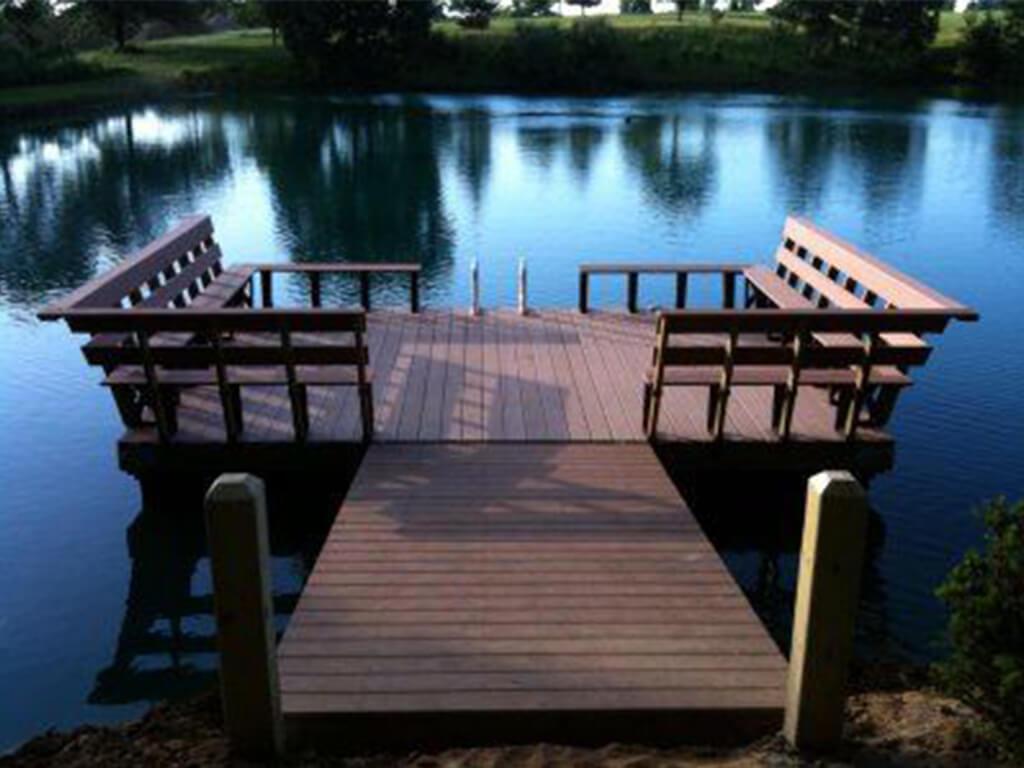 A wooden pond dock