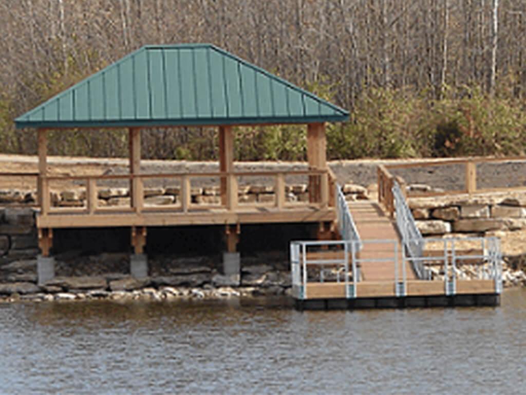 wooden floating dock