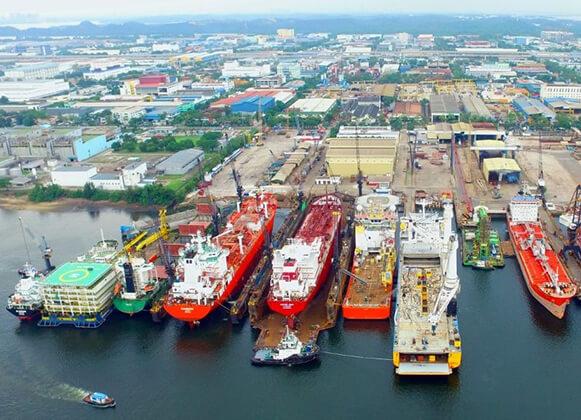 multiple floating docks in a shipyard
