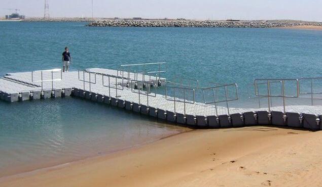An aluminum floating dock at sea