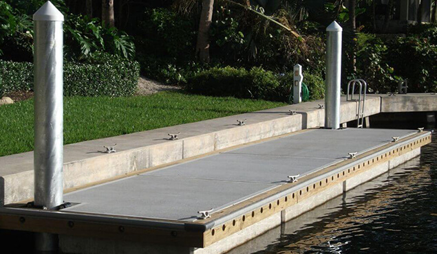 An image of an concrete floating dock
