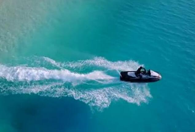 Drone following jet ski