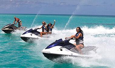 Kids riding a jet ski