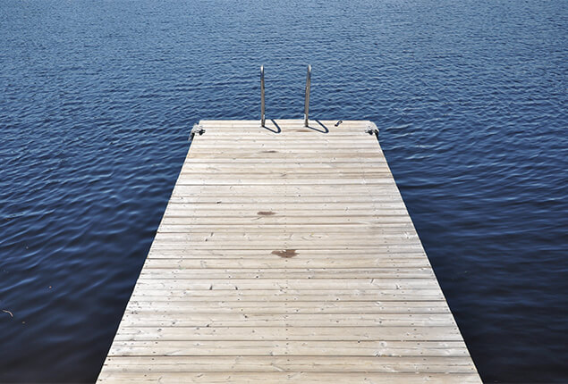 Look for the best location where the finished jet ski dock will be installed