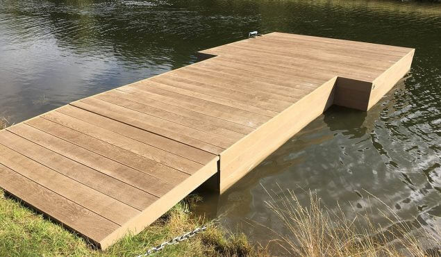 A wooden dock for lakes and ponds