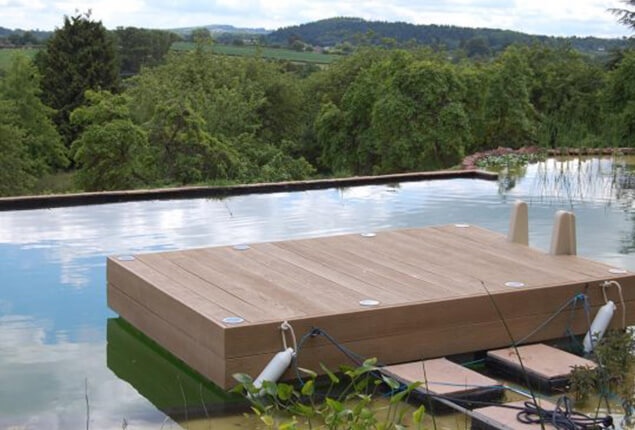 A wooden floating deck