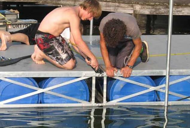 assembling floating dock