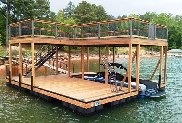 Floating wooden boat dock