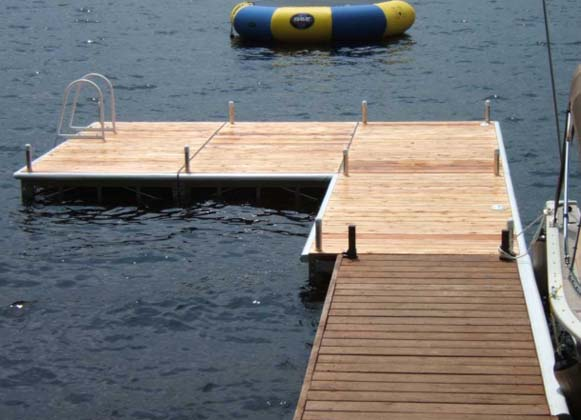 An L-shaped pipe dock with ladder
