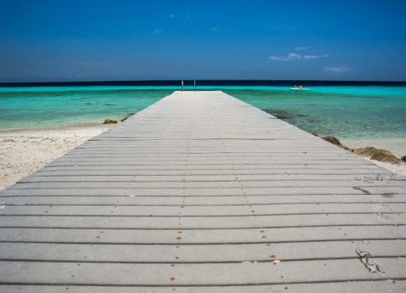 A Wooden Dock Stretching Into the Ocean