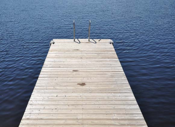 A Floating Dock Made of Wood Decking