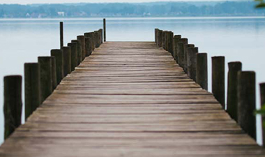 A wooden dock at a pier