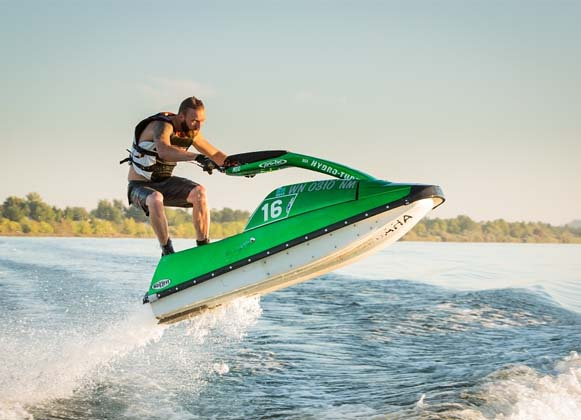 A man participating in water sports