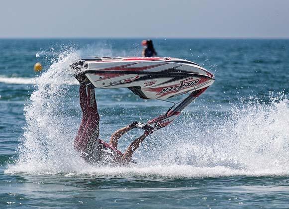 Jet ski riding in the ocean