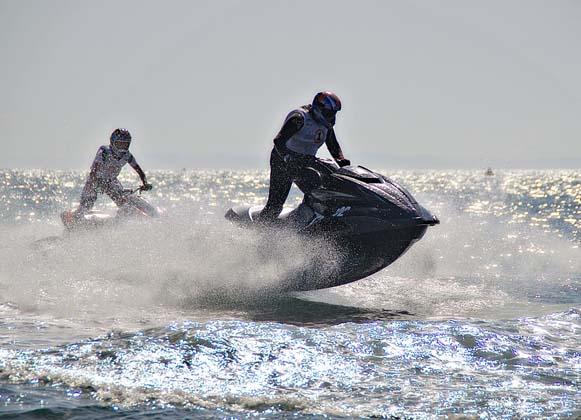 People riding on jet skis