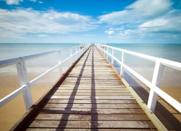 A long wooden dock
