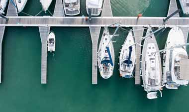 Boats Anchored to a Dock