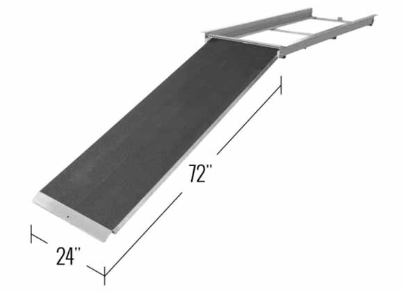 A metal dock ramp
