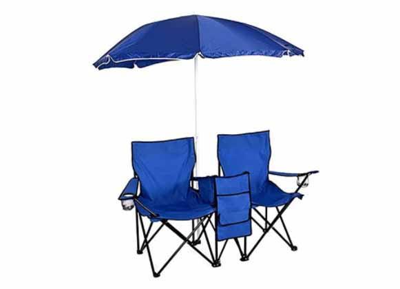 A set of blue foldable chairs and an umbrella