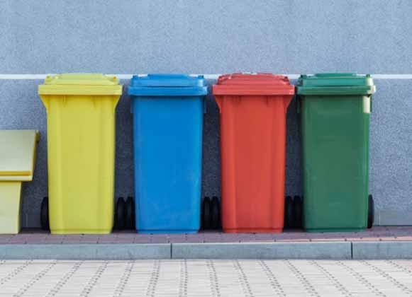 Multicolored trash bins