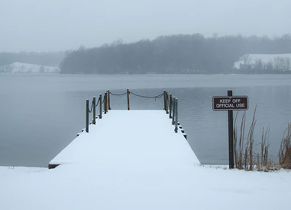 A dock in the winter