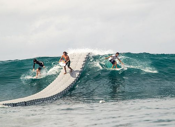 A floating surfing dock