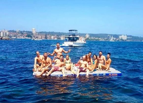 People on a floating platform